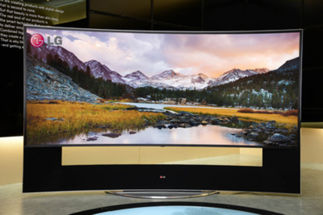 LG will unveil the World's first 105-inch 21:9 CURVED ULTRA HD TV at CES 2014. With its beautiful, ergonomic design and enormous concave 105-inch screen, the 105UC9 delivers a viewing experience unmatched by any other TV available today. (CNW Group/LG Electronics Canada)
