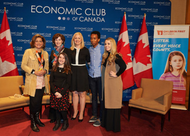 Children First Canada launches with Lisa LaFlamme, Chief Anchor, CTV National News; Katie Taylor, Chair, RBC and Sick Kids Foundation; Hannah Alper, youth Ambassador, Children First Canada; Sara Austin, Founder, Children First Canada; Sam Yacob, youth ambassador, Children First Canada; Rhiannon Traill, President, Economic Club of Canada (CNW Group/Children First Canada)