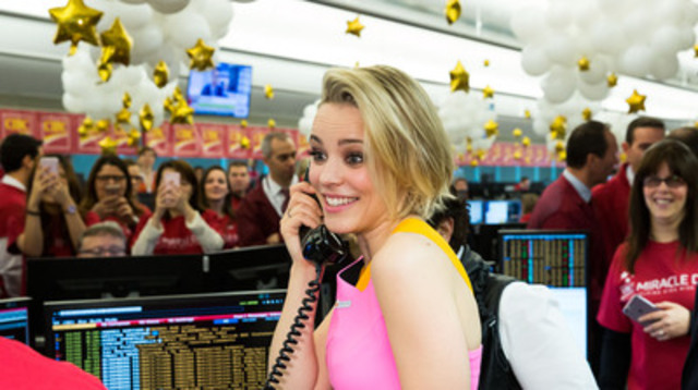 Rachel McAdams lights up the trading room on CIBC Miracle Day. (CNW Group/Canadian Imperial Bank of Commerce)
