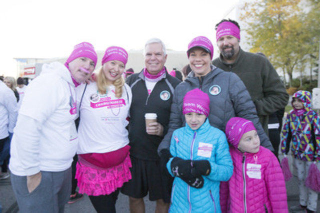 WestJet President and CEO, Gregg Saretsky, with employees and their families at the CIBC Run for the Cure. (CNW Group/WestJet)