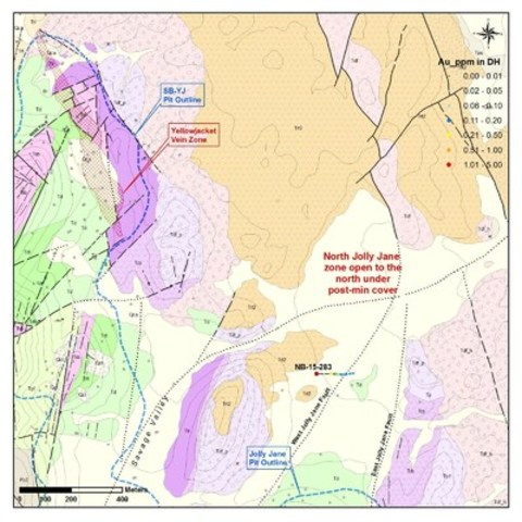 Figure 2. Northwestern Resource Area map showing 2015 North Jolly Jane drill hole location. (CNW Group/Corvus Gold Inc.)