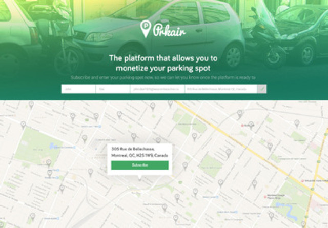 The platform that allows you to monetize your parking spot (CNW Group/WE_ARE)