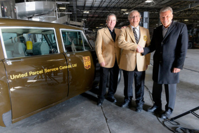 On Monday, March 2 to celebrate UPS Canada's 40th Anniversary, UPS Canada President, Michael Tierney, recognized UPS Canada's longest serving employees, feeder truck drivers, Robert Avis and Doug Coxon for 38 years of service excellence. (From left to right: Robert Avis, Doug Coxon, and UPS Canada President Michael Tierney) (CNW Group/UPS Canada Ltd.)