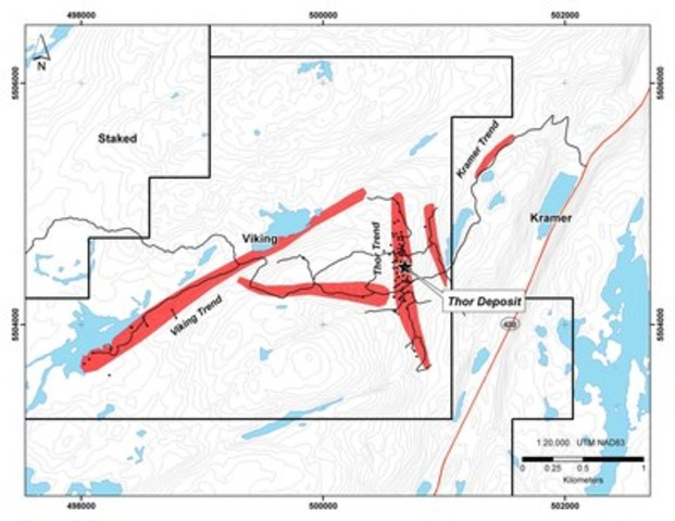Exhibit C:  A map of the Viking and Kramer licenses showing the location of the Thor Deposit and associated gold trends. (CNW Group/Anaconda Mining Inc.)