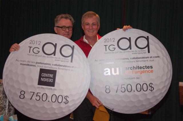 Tournoi de golf des architectes du Québec, 9 août 2012. À gauche, Börkur Bergmann, directeur du Centre de design de l'UQAM et à droite, Yves Langevin, président d'Architectes de l'urgence Canada. (Groupe CNW/ARCHITECTES DE L'URGENCE CANADA (AUC))