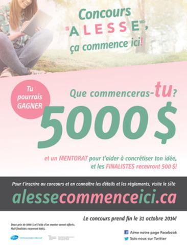 Alesse, ça commence ici! est un concours national dans le cadre duquel les jeunes Canadiens et Canadiennes sont invités à soumettre leur idée pour « entreprendre quelque chose » et qui les aide à réaliser leur projet (Groupe CNW/Pfizer Canada Inc.)