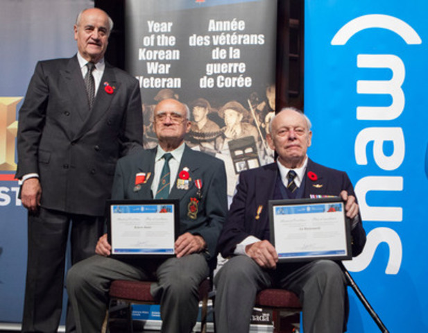 At a screening of HISTORY's new documentary 28 Heroes, The Honourable Julian Fantino, Minister of Veterans Affairs, presents ministerial certificates of excellence to Private Red Butler and Lieutenant Ed Mastronardi. The Canadian Veterans are featured in the film, which brings to life one of the most remarkable small unit actions of the Korean War. 28 Heroes airs November 11 at 9pm ET/PT on HISTORY. (CNW Group/Shaw Media)