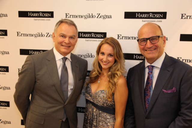 Marty Grundy, (Managing Director Ermenegildo Zegna Canada), Rachel Fenlon (Vancouver Opera), Larry Rosen (CEO & Chairman, Harry Rosen) celebrate the reopening of the Ermenegildo Zegna boutique in downtown Vancouver on Sept. 24, 2012 (CNW Group/Harry Rosen Inc.)