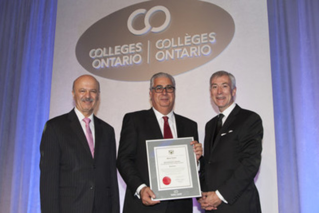 Hon. Reza Moridi, Ontario's Minister of Training, Colleges and Universities, Marc Caira, Seneca alumnus and Vice-Chair of Restaurant Brands International, and David Agnew, Seneca President at last night's Premier's Awards honouring Ontario college graduates. (CNW Group/Seneca College of Applied Arts and Technology)