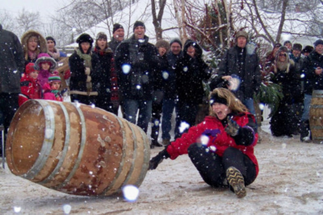 Sue-Ann Staff Barrel Rolling Competition in Twenty Valley. (CNW Group/Wine Country Ontario)