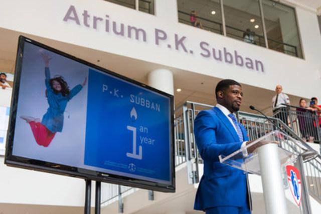 P.K. Subban, porte-parole et membre du Conseil d'administration de la Fondation de l'Hôpital de Montréal pour enfants, lors de la conférence de presse (Groupe CNW/La Fondation de l'Hôpital de Montréal pour enfants)