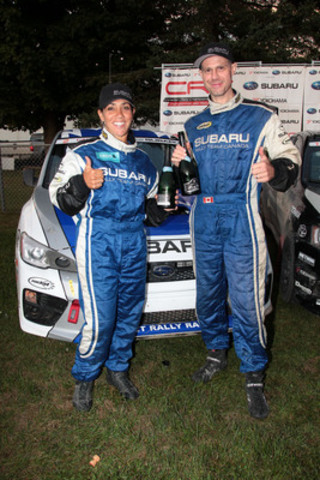 Nathalie Richard and Martin Rowe, co-driver and driver of Subaru Rally Team Canada, celebrate their well-earned second place finish at Rallye Défi. (CNW Group/Subaru Canada Inc.)