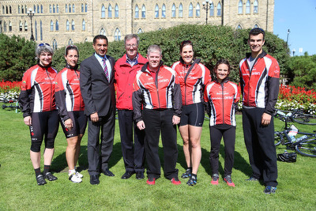 Canadian athletes Caitlin Crooks, Robbi Weldon, Andréanne Morin, Meagan Duhamel and Eric Radford join Minister of State (Sport), Bal Gosal, Mayor of Ottawa, Jim Watson and Landon French, Executive Director, Jumpstart Charities at Parliament Hill today for the 25 km pit-stop of Canadian Tire Jumpstart Charities' 5th Annual Pedal for Kids Ride to give kids across Canada a sporting chance. (CNW Group/CANADIAN TIRE CORPORATION, LIMITED)
