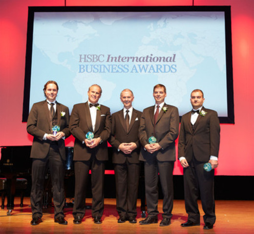 HSBC International Business Awards Gala Dinner - October 24, 2012. From left to right: Mr. Andrew Richardson (CEO, Targray Technology International), Mr. Nicholas Walker (CEO, Bassett & Walker), Mr. Lindsay Gordon (President and CEO, HSBC Bank Canada), Mr. Jules Paquette (CEO, Borealis) and Mr. Zaid Qadoumi (President and CEO, Broadgrain Commodities) (CNW Group/HSBC Bank Canada)