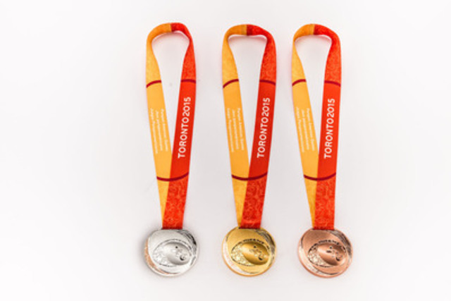 """For the first time in medals history, the Royal Canadian Mint has applied the ancient technique of mokume gane, fusing different alloys to reflect the multicultural celebration of athletes and the fellowship of nations coming together under the motto ?""""United We Play!""""? (CNW Group/Toronto 2015 Pan/Parapan American Games)"""