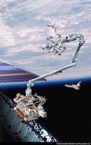 The Mobile Servicing System on the International Space Station. (CNW Group/MacDonald, Dettwiler and Associates Ltd.)